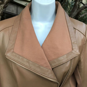 IMAN Taupe Brown Womens Leather Moto Jacket XS 4-6